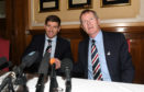 Rangers manager Steven Gerrard shakes hands with Chairman Dave King on the day of his appointment