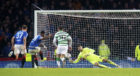 Fraser Forster frustrated Rangers throughout the Betfred Cup Final, including this penalty save from Alfredo Morelos