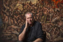 Artist Peter Howson unveils a new painting at St Mungo Museum, Glasgow to commemorate the 25th Anniversary of the Srebrenica Masscare