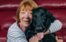 Lacey with happy owner Andrena Cowan, back home in Menstrie