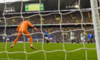 The moment that sparked controversy last Sunday. Callum McGregor's shot is deflected past Rangers keeper Allan McGregor by Odsonne Edouard's hand, but referee Kevin Clancy allowed the goal to stand