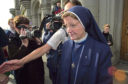 Sister Alphonso leaves Aberdeen Sheriff Court after her conviction in 2000
