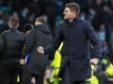 Steven Gerrard celebrates Rangers' win over Celtic
