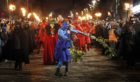 Performers depict  the epic struggle between the winter and summer kings  during the Samhuinn Fire  Festival in Edinburgh