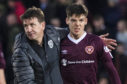 Hearts manager Daniel Stendel (L) and Aaron Hickey