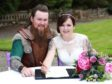 Dwayne Davies with bride Ashley at Auchen Castle near Moffa